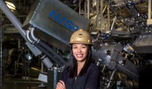 HEDS researcher Tammy Ma poses in front of the National Ignition Facility taregt chamber